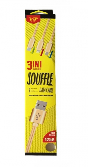 Data Cable Souffle - Micro USB, Lightning, Type C