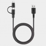 Energea NyloTough 2-in-1 USB-C + Micro USB Charge & Sync Cable 1.5m (Black)